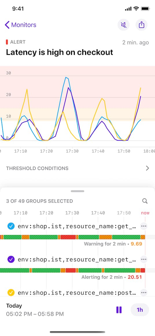 Investigate alerts on the go with the Datadog mobile app