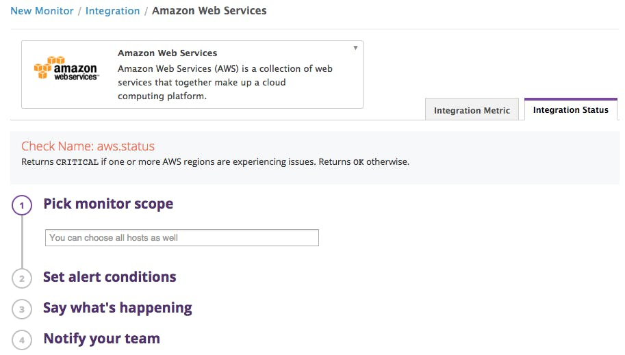 AWS outage? Datadog alerts you to changes in AWS status