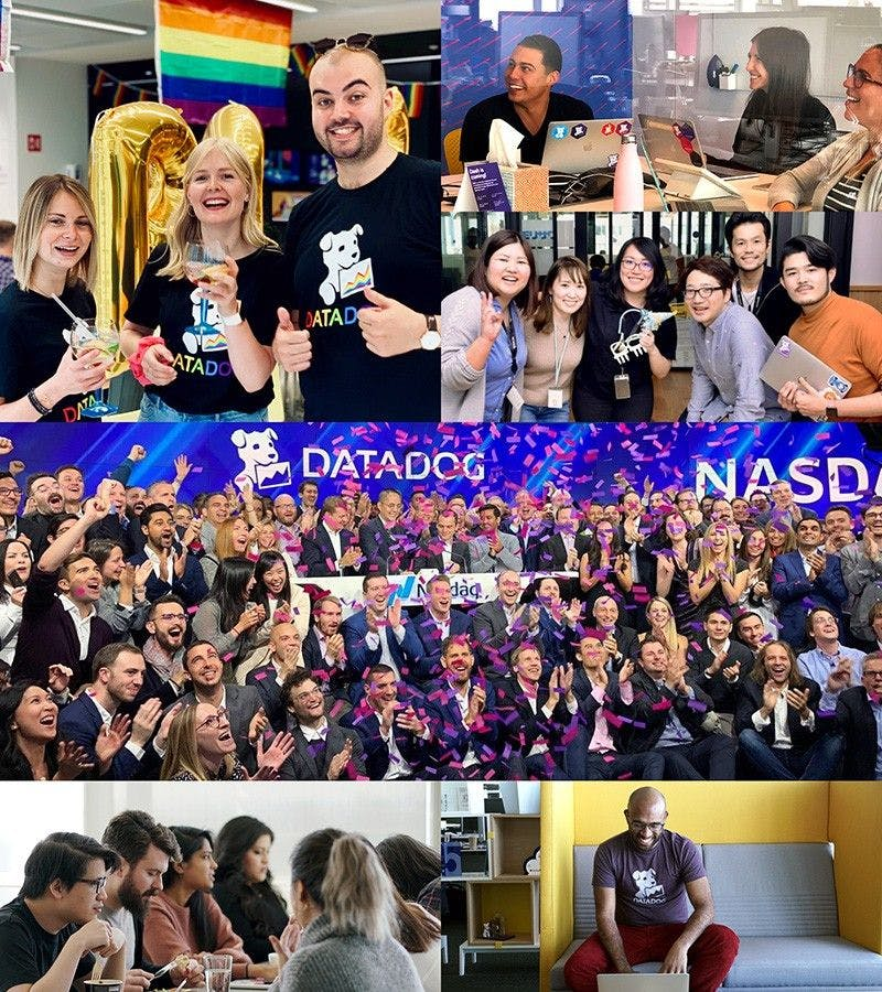 Collage of Datadog office and employees