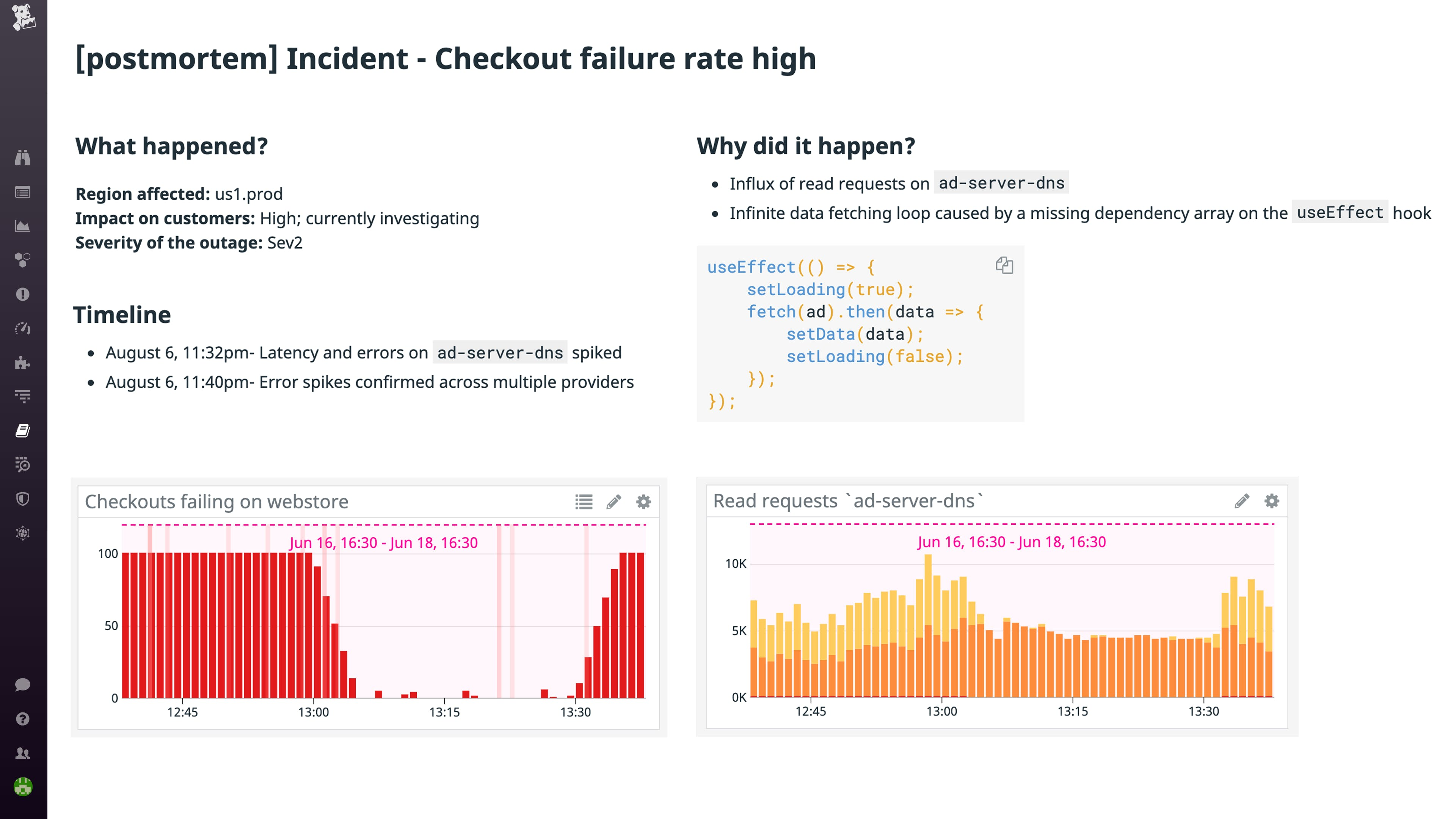 Preserve data from incident declaration to resolution with Datadog Postmortem Notebooks