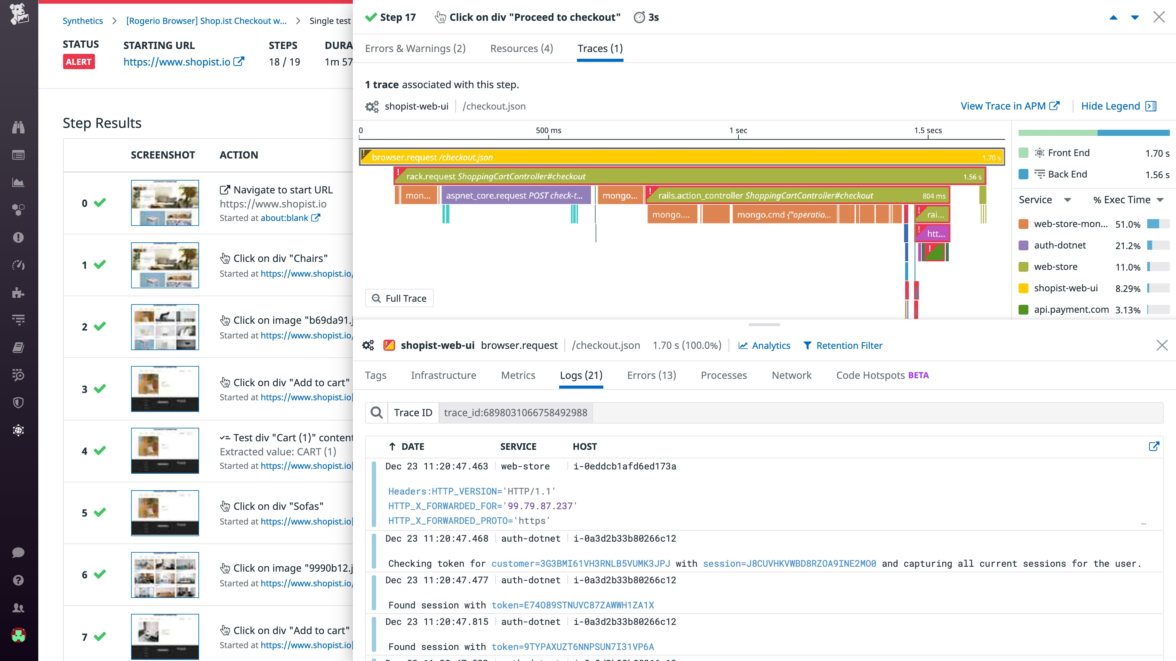 Results from a browser test correlated with backend data: trace, metrics, logs, and more.