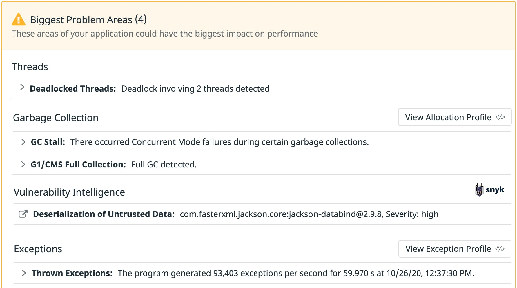 Leverage an automated analysis of your code to derive actionable insights on deadlocked threads, memory leaks, and more