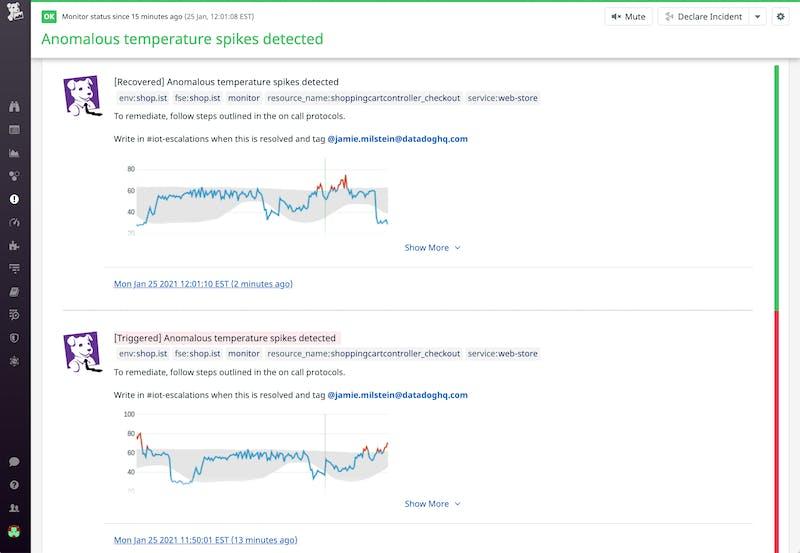Datadog's anomaly detection monitors use machine learning to minimize false positive alerts.