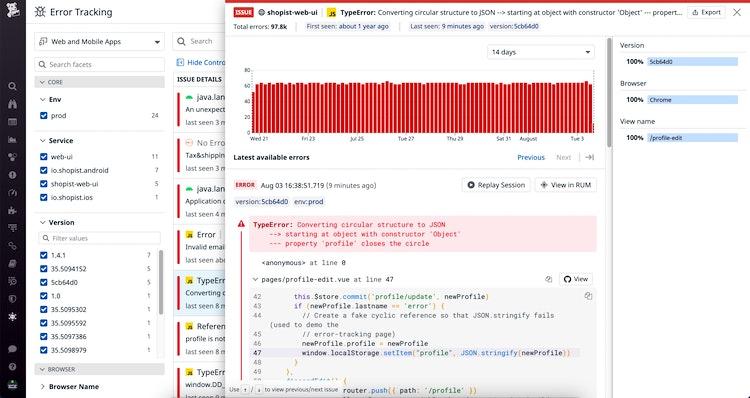 View error details with Datadog Error Tracking.